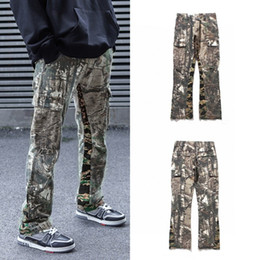 ingrosso larghi jeans gambe-Coppie Nuovo Camouflage rappezzatura Pantaloni Uomo Donna Jeans a gamba larga High Street Hip hop Loose Fit Jeans