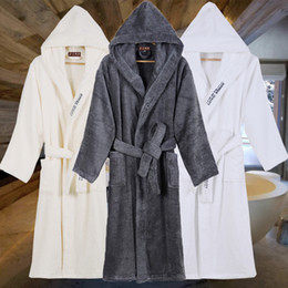 long warm robes Australia - High Quality Men's Robe Hooded Winter Bathrobe Male Long Thick Warm Terry Fleece Towel Dressing Gown Couple Home Bath Robes 201109