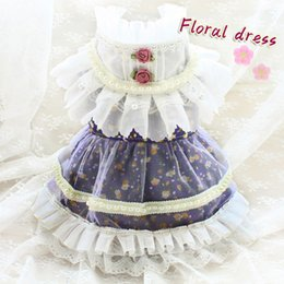 pet dog princess collar Canada - Free Shipping Handmade Dog Clothes Dress Princess Lace Skirt Chiffon Lotus Leaf Collar Quiet Purple Little Flower Pet Outfit Cat Yorkie