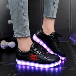 shoes size for children Canada - Size 30-43 Kids Glowing Luminous Sneakers Women Shoes with Lighted Sole USB Charging Children LED Lighted Slipper for Boys Girls LJ201203