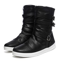 Discount mens mid calf zip boots Mens Mid Calf Boots Belt Buckle Zipper Round Toe Thick Bottom Male High Top Boots Casual Shoes New Sport Leisure Men