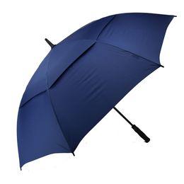 Toptan satış Erkekler Otomatik Açık Windproof Şemsiyeler Çok Büyük boy Çift Canopy Bacalı Su geçirmez Çubuk 62 İnç mavi Golf Şemsiyesi