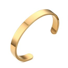 gold stainless steel cuff bracelet NZ - 8mm Width Surface Stainless Steel Bracelets For Women Men Gold  Silver  Rose Gold Cuff Bracelets & Bangles Men Jewelry Pulseras