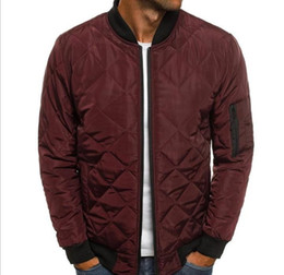 Wholesale quilting jackets resale online – 2020 Men s Padding Bomber Jacket Male Autumn Winter Diamond Quilting Padded Jacket Windproof Outwear Overcoat Pilot