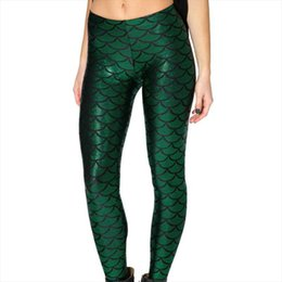 Wholesale fish scale print leggings for sale - Group buy Women Plus Size Glitter Fish Scale Printed Leggings Lady Sexy Metallic Pants Stretch Ankle Length Skinny Trousers S XL