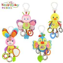 toys happy monkey Canada - Happy Monkey baby bed bell neonatal toys with BB plush toy for hanging cartoon animal WJ459 1020