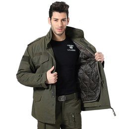 Wholesale trench coat military jacket men resale online – Men Military M65 Jacket Air Force in1 Winter Thicken Windbreaker Bomber Army Tactical Combat Trench Coat Hood Pilot Male Jacket