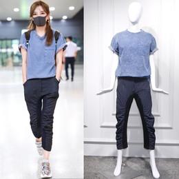 Wholesale star puff for sale – custom BGk2M for Star Zhao Wei airport same Pants blue loose suit suitT shirt pants setpocket T shirt vertical stripe F1LAi Set Summer women denim
