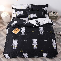 Wholesale Four-piece suit high quality Big yellow duck chinchilla striped grid printing Sanding Skin-friendly cotton Bed sheet fashion Comfortable Fou