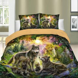 wolf duvet covers UK - 3D Bed Linens Wolf Duvet Cover Set Animal Printed Single Twin Full Queen King Euro Bed Quilt Cover Bedding Sets With Pillowcases 201116