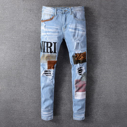 Wholesale mens distressed jeans for sale - Group buy New High quality Mens jeans Distressed Motorcycle biker jeans Rock Skinny Slim Ripped hole letter Top Quality Brand Denim Jeans