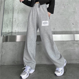 Wholesale high waisted pants resale online - Sweatpants Women Baggy Pants Gray Spring Wide Leg Sweat Pants Oversized Joggers Streetwear High Waisted Trousers Black