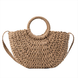 Discount hand make women handbags LJL New Summer Women Hand Made Beach Bag Casual Female Weave Straw Bag Handbags Crossbody Bag For Women