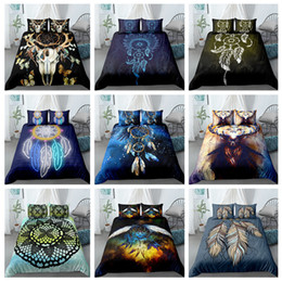 king sized bedding sets Canada - Bohemian Dream-catcher Bedding Set Colorful Feather Duvet Cover Pillowcase 3D King Queen Single Size Bed Sets 1012