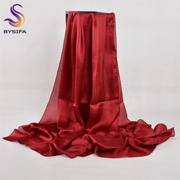 winter head scarves women Australia - [BYSIFA] Chinese Silk Winter Women Long Satin Shawl Luxury Wine Red Scarves Simple Muslim Plain Head Scarf 180*90cm Y201007