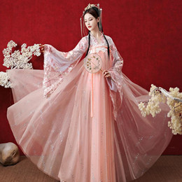 chinese dance costumes women 2020 - 2020 Hanfu Women Summer Fairy Dress Ancient Traditional Chinese Folk Dance Costumes Improved Hanfu Dress Festival Outfit