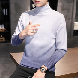 Wholesale christmas sweaters for sale - Group buy Gradient sweater For Men young students trend personality contrast knit pullover ugly christmas half collar men s sweater