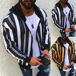 Wholesale zipper up hoodie for sale – custom 2020 Men Fashion Striped Hoodies Patchwork Zipper Sweatshirt Solid Causal Fleece Hooded Sweatshirt Male Long Sleeve Autumn Coats