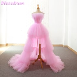 Pink Homecoming Dresses 2020 New Tiered Layers Sweep Train Short Front Long Back Prince Evening Gowns Graduation Blue Prom Dress