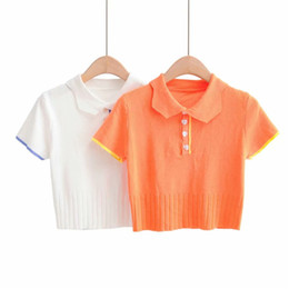 Wholesale womens polo shirts resale online – Shirt Female Blouse Woman Knitted Button Up Cute Blouses Summer Polo shirt Women Short Sleeve Blouse Womens shirts