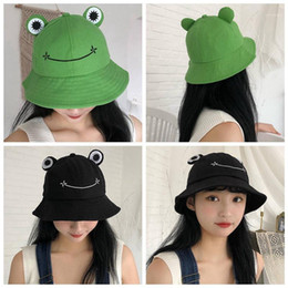 adult frog hat Canada - New Cute Frog Letter Bucket Hats Women Cover Fisherman Cap Hat For Adult Women Sunscreen Summer Outing Hat Present1