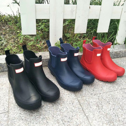 Hot sale- Rain Boots Women Ankle Rainboots Ms Glossy Rain Boots Knee Boots red black blue on Sale