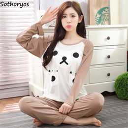 Wholesale womens matching pajamas for sale - Group buy Pajama Sets Women Winter All match Lovely Cartoon Printed Womens Pajamas School Students Sweet Females Daily Clothing Love