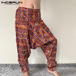 Wholesale baggy crotch pants men for sale - Group buy Leisure Printed Drop Crotch Pants INCERUN Mens Loose High Waist Trousers Man Fashion Baggy Wide Leg Pantalones Streetwear S XL