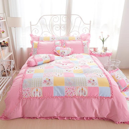Discount ruffle bedding set 100%Cotton king queen twin size girls single double Bedding set princess style ruffles bed set bedskirt pillowcases