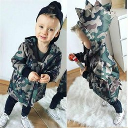baby boy dinosaur clothes 2020 - Fashion Kids Baby Boy Camouflage Jacket Coat Zippers Dinosaur Hooded Tops Warm Outwear Clothes discount baby boy dinosau