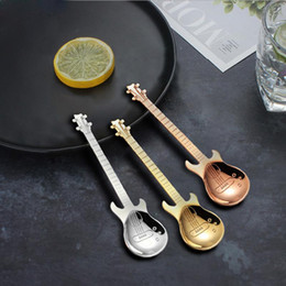 Discount small musical instruments Cute Coffee Spoons Guitar Shape Mini Dessert Spoon For Ice Cream Metal Stainless Steel Musical Instrument Bass Small Spoon