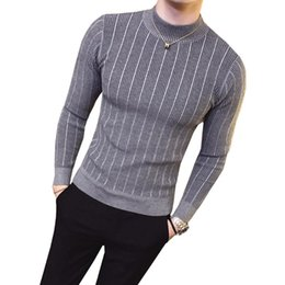 Wholesale long sleeve half sweater resale online - Sweater for Men Male Casual Sweater Slimfit Knitwear Solid Comfortable Mens Half Turtleneck Sweater Slim Fit Knitted top