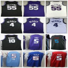 ingrosso volpi nere-Sacramento Kings Deaaron Fox Jersey Purple Black White Retro Vintage Webber Mike Bibby Jason Williams Mens Basket Plox Plower