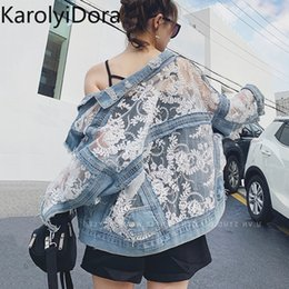 Wholesale women jeans patchwork lace floral resale online - Streetwear Lace Patchwork Jean Hole Denim Jacket Coat Women Oversized Long Sleeve Perspective Flower Embroidery Loose Overcoat