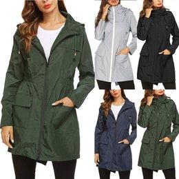 Bayan Hafif Yağmurluk Su Geçirmez Ceket Kapüşonlu Açık Yürüyüş Uzun Yağmur Aktif Rainwear