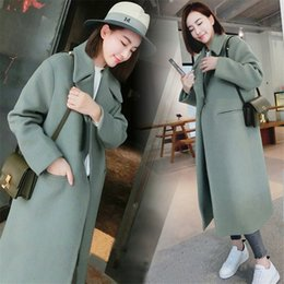Wholesale women wool coat grey slim resale online - 2019 Woman Coats Winter Korean Wool Coat Warm Causal Long Coat Slim Thicken Coat Plus Size Grey Long Poncho Women