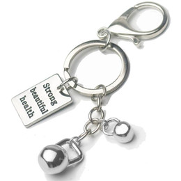 kettlebell jewelry Australia - Kettlebell Charms Keychain Men Engraved Hippie Gym Quotes Key Ring Car Purse Bag Buckle Pendant Men Sports Hip Hop Jewelry