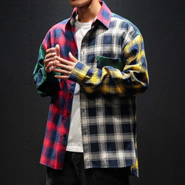 urban hip hop shirts NZ - Vintage Plaid Colorblock Shirts Men's Fashion Long Sleeve Patchwork Tartan Shirt Men Hip Hop Casual Urban Clothing