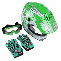TCMT Motorcycle Youth Kids Green Flame Dirt Bike ATV Motocross Helmet Goggles Gloves S M L XL on Sale
