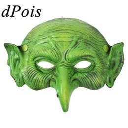 Wholesale women witch costumes online – ideas 3d Realistic Scary Mask Horror Old Woman Witch Half Face Cover Masquerade Masks Halloween Costume Cosplay Accessory Party Props
