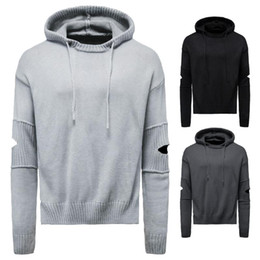 Wholesale ripped sweaters men resale online – Winter Mens Wool Pullover Hooded Ripped Decor Solid Knitting Stretchy Casual Fashion Style Male Warm Sweater