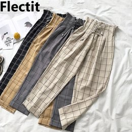 Wholesale paperbag pants resale online - Flectit Women s Plaid Pants Lace Up With Pocket Paperbag High Waist Ankle Pants Spring Summer Female Trousers