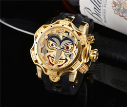 Discount invicta wristwatch 2021 New INVICTA Luxury Mens Military Sports Watch Large Dial Golden Quartz Men Watches Calendar Silicone Strap Wristwat