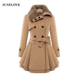 damen trenchcoats großhandel-Wollmantel Zweireiher Revers langen Mantel Weibliche verdicken Herbst Winter dünner Gurt Plissee Trench Coats Lady Fellkragen Peacoat