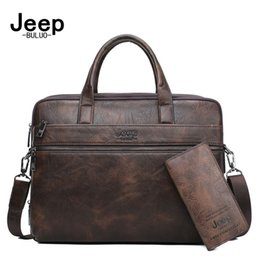 "JEEP BULUO Men's Briefcase Bags For 13.3"" Laptop Man Business Shoulder Bag Handbags High Quality Leather Office Black"