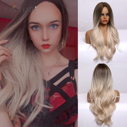 dark green wig wavy 2021 - Ombre Brown Light Blonde Platinum Long Wavy Middle Part Hair Wig Cosplay Natural Heat Resistant Synthetic Wig for Women