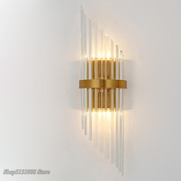 industrial home decor NZ - Modern Luxury Crystal Strip Wall Lamp Sconce Simple Led Indoor Wall Light Loft Living Room Beside Home Decor Light Fixture