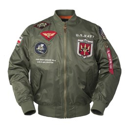 Wholesale letterman college baseball jacket resale online – 2020 Autumn Top Gun Us Navy Ma1 Letterman Varsity Baseball Pilot Air Force Flight College Tactical Military Army Jacket for Men