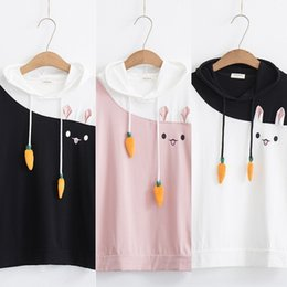 Wholesale embroidered female shirts online – 7rDre style new style Sen women embroidery embroidered T shirt radish short rabbit radish color matching cartoon sleeve t shirt female