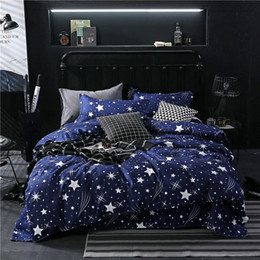 owl bedding set full Canada - Star Owl Plaids 4pcs Bed Cover Set Cartoon Duvet Cover Adult Kids Boys Bed Sheets And Pillowcases Comforter Bedding Set 61001 201021